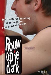 Poster van Theatergroep TRAXX van de voorstelling Rouw op je dak.