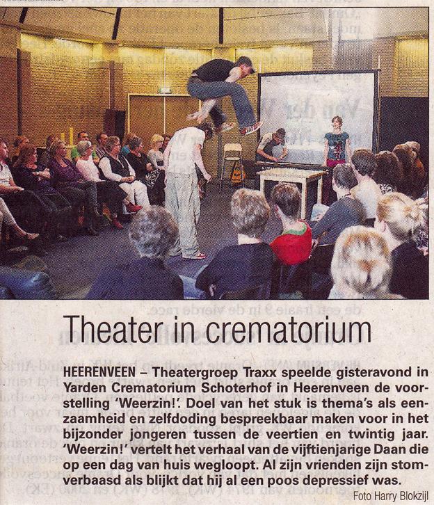 Theatergroep TRAXX speelt in Yarden  crematorium