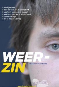 Poster van Theatergroep TRAXX van de voorstelling 'Weer-zin'.